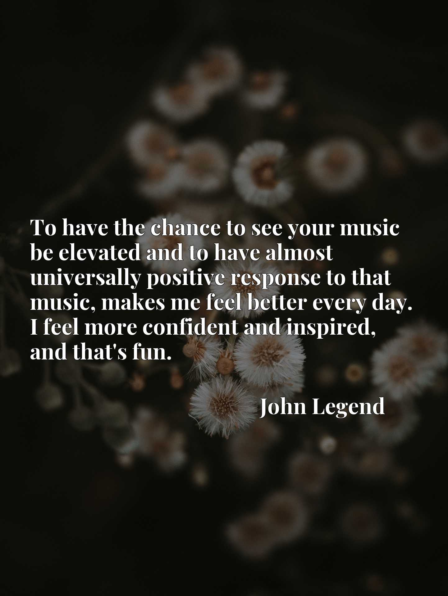 To have the chance to see your music be elevated and to have almost universally positive response to that music, makes me feel better every day. I feel more confident and inspired, and that's fun.