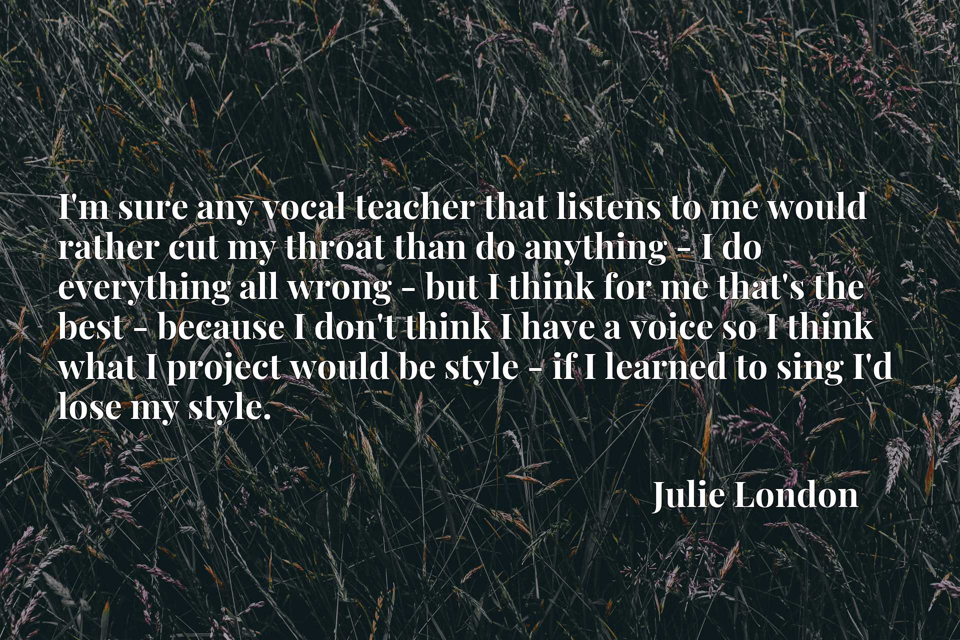 I'm sure any vocal teacher that listens to me would rather cut my throat than do anything - I do everything all wrong - but I think for me that's the best - because I don't think I have a voice so I think what I project would be style - if I learned to sing I'd lose my style.