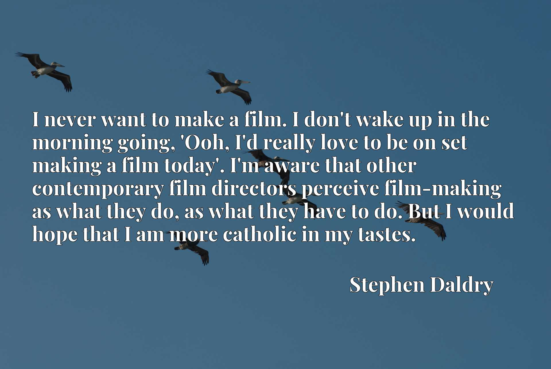 I never want to make a film. I don't wake up in the morning going, 'Ooh, I'd really love to be on set making a film today'. I'm aware that other contemporary film directors perceive film-making as what they do, as what they have to do. But I would hope that I am more catholic in my tastes.