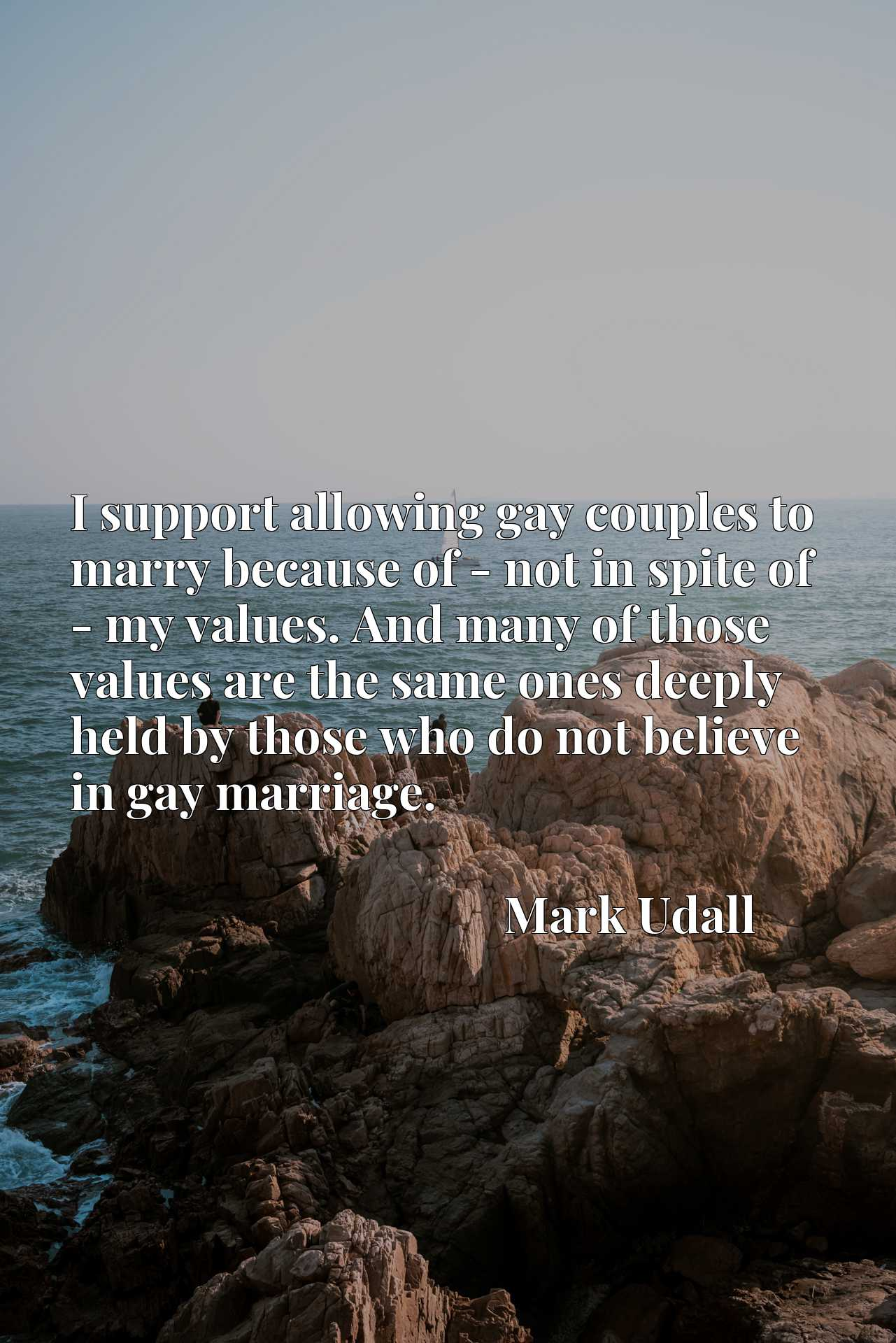 I support allowing gay couples to marry because of - not in spite of - my values. And many of those values are the same ones deeply held by those who do not believe in gay marriage.