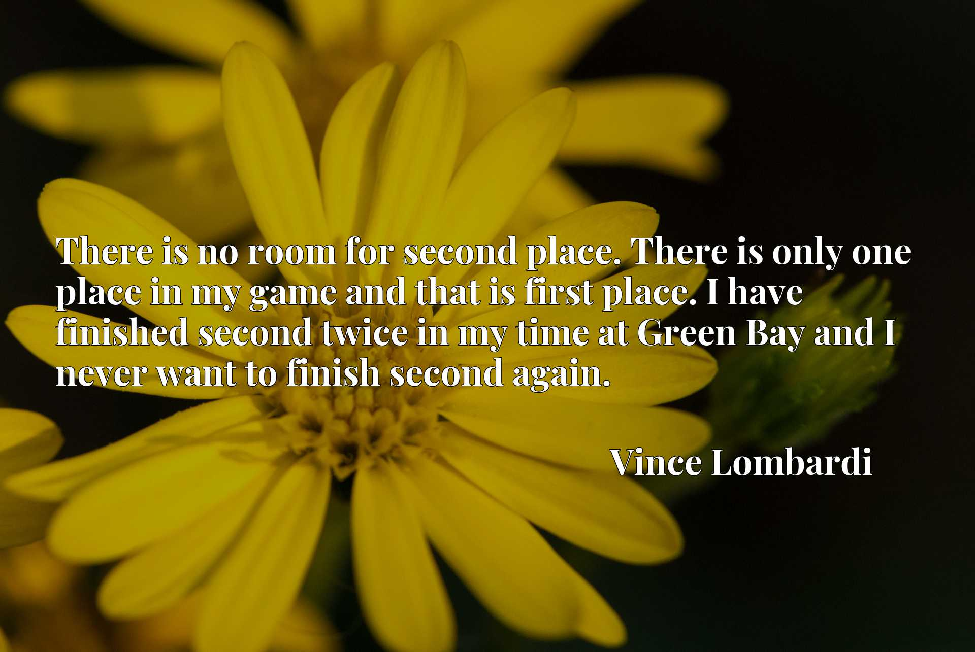 There is no room for second place. There is only one place in my game and that is first place. I have finished second twice in my time at Green Bay and I never want to finish second again.