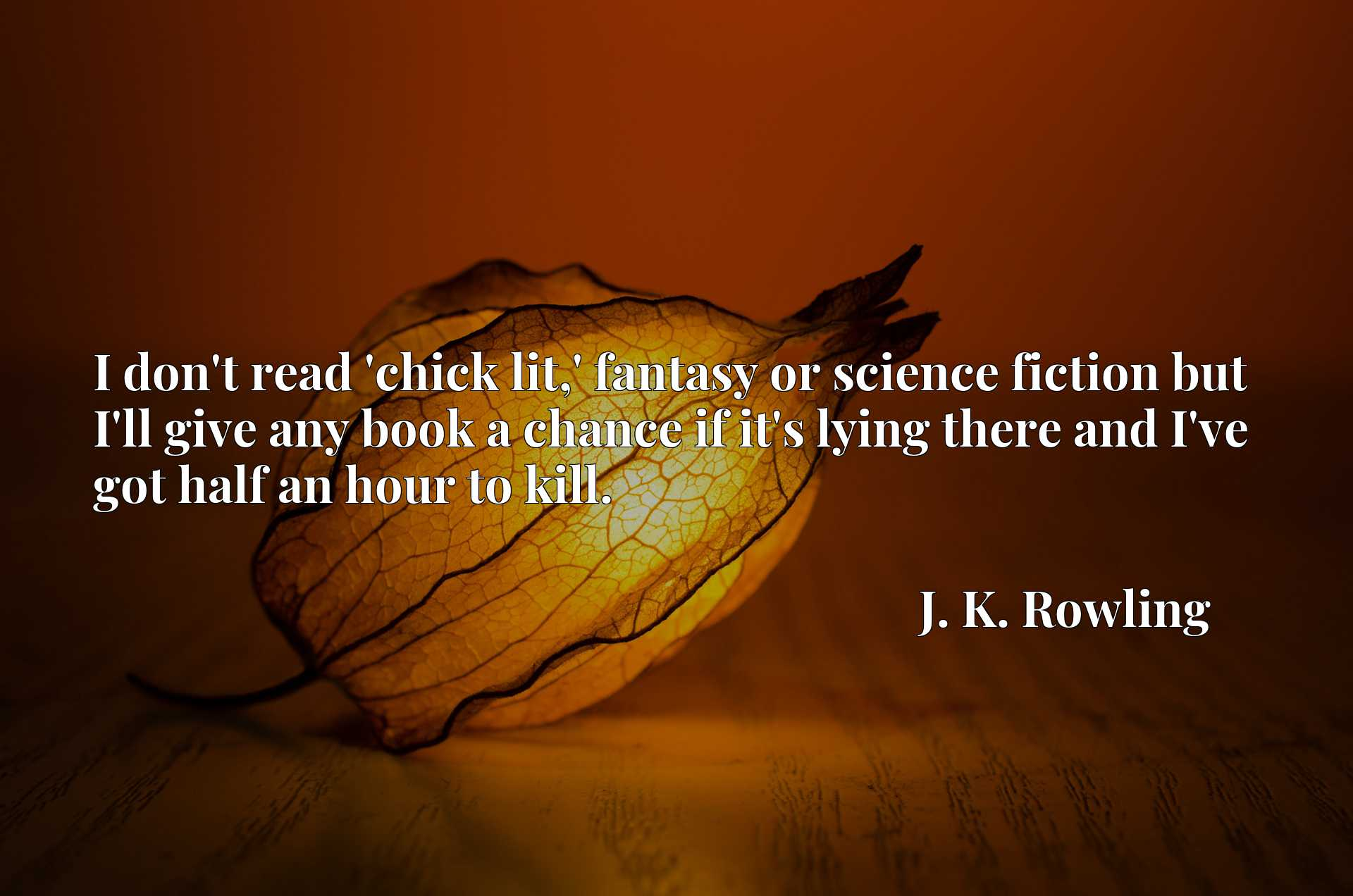 Quote Picture :I don't read 'chick lit,' fantasy or science fiction but I'll give any book a chance if it's lying there and I've got half an hour to kill.